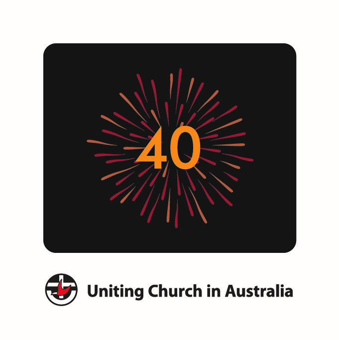 The 40th anniversary logo, which can be viewed as a starburst, fireworks or a dandelion head whose seeds are spread on the wind. The image brings to mind celebration, diversity and all the varied parts of the Uniting Church.