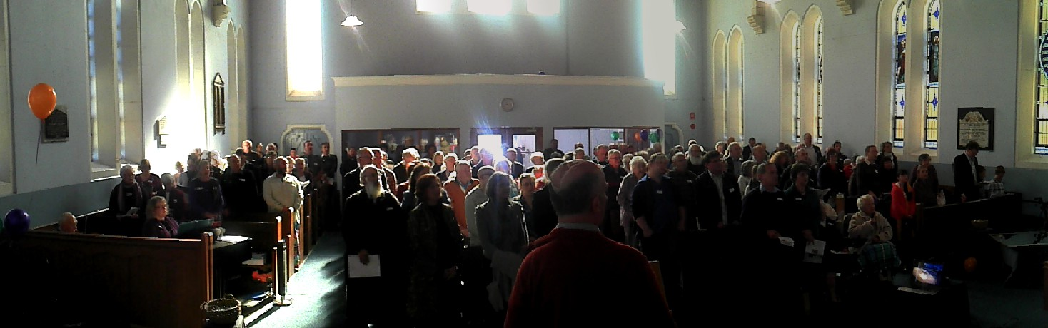 A congregation of 150 joined together to celebrate our 150th anniversary, in the church space that was newly renovated.
